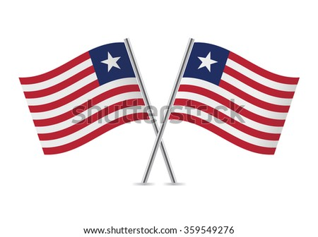 Liberia flags. Vector illustration.