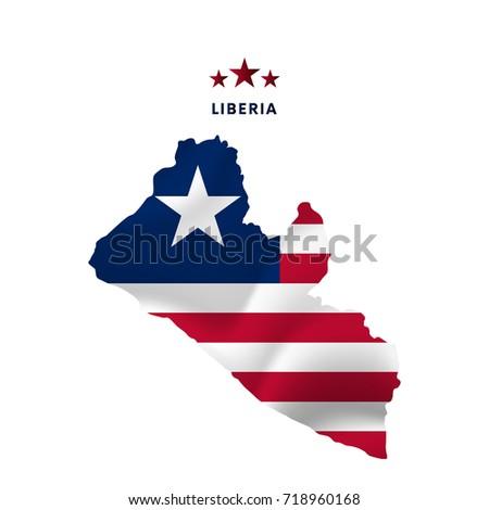Liberia Map Waving Flag Vector Illustration Stock Vector - Liberia map