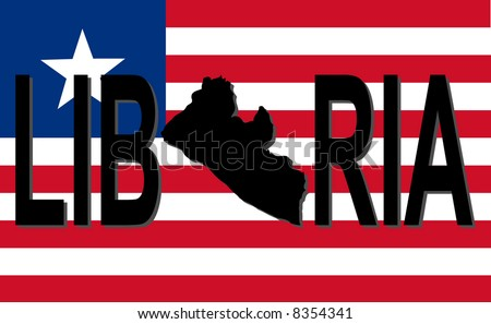 Liberia text with map on flag illustration