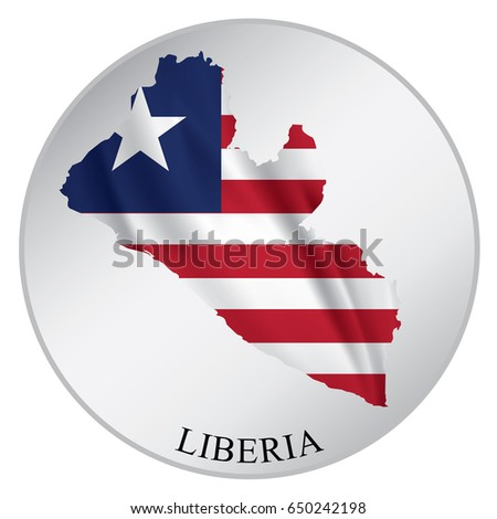liberia vector sticker with flag and map label round tag with country name