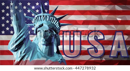 Liberty in low poly style on USA flag graphic background