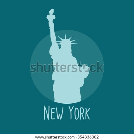 Liberty statue new york detailed silhouette. Vector illustration