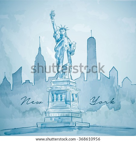 Liberty statue with New York building city silhouette - stock vector
