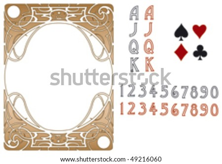 LIberty style poker playing cards, vector EPS AI8. - stock vector