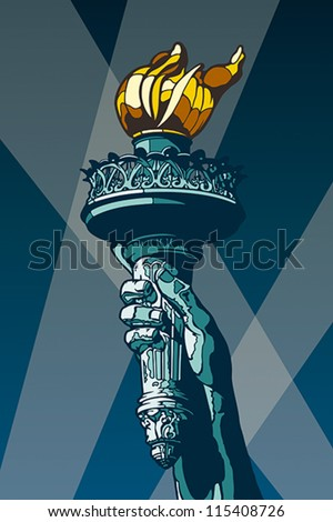 Liberty Torch. USA landmark and symbol of Freedom and Democracy. EPS 8, CMYK - stock vector