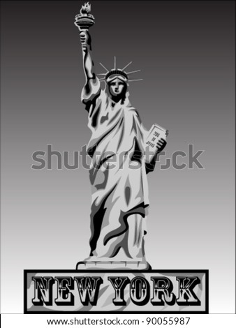 Liberty Vector Black Shadows Silhouette - stock vector