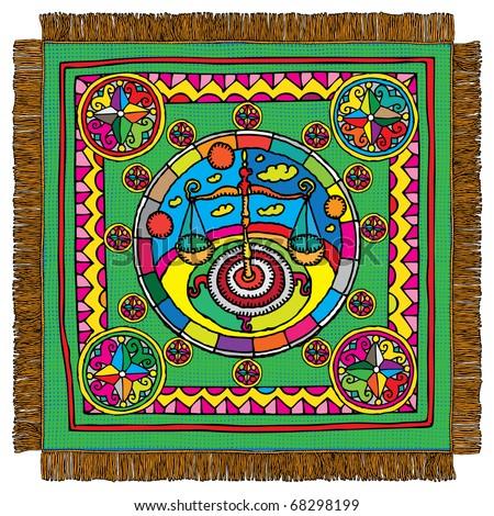 Libra horoscope sign carpet - stock vector