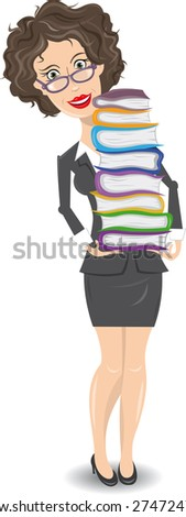 Librarian with a pile of books - stock vector