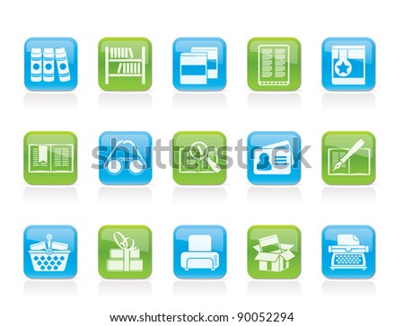 Library and books Icons - vector icon set - stock vector