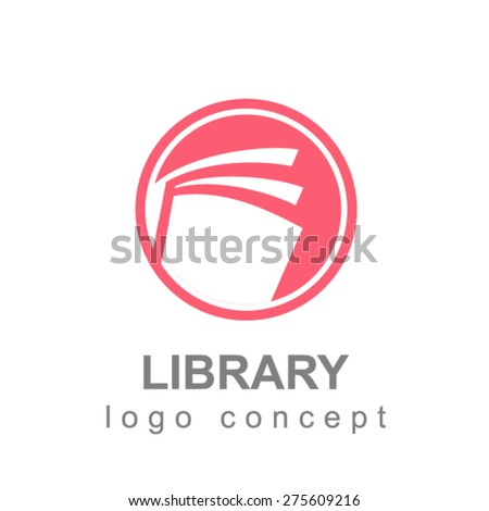 Library book logo - stock vector
