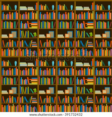 Library, bookstore - Seamless pattern with books on bookshelves. - stock vector