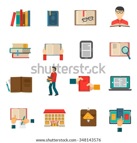 Library flat icons set with people reading traditional and electronic books isolated vector illustration - stock vector