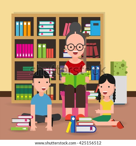 Library Room, Grandmother and Children