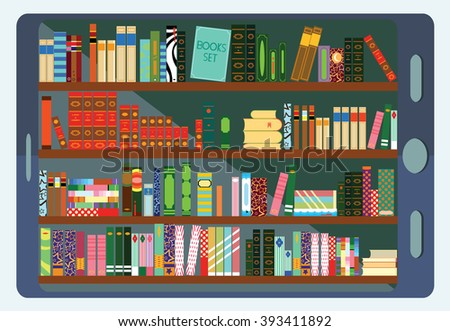 Library Shelf in Tablet pc Computer. Knowledge and Books. - stock vector
