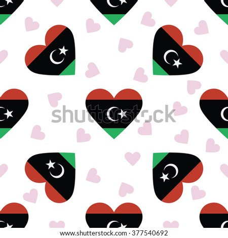 Libya independence day seamless pattern. Patriotic country flag background. Libya flag in the shape of heart. Vector seamless pattern. - stock vector