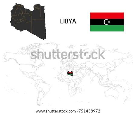 Libya Map On World Map Flag Stock Vector 751438972 Shutterstock