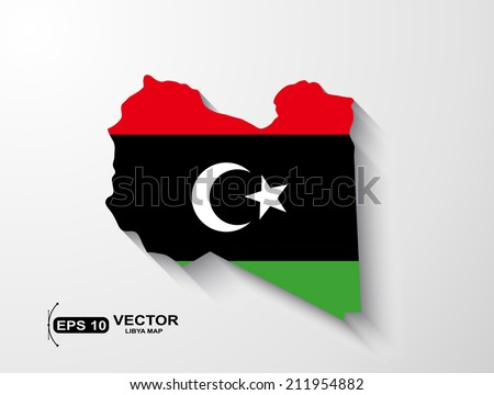 Libya map with shadow effect - stock vector