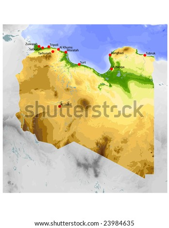 Libya. Physical vector map, colored according to elevation, with rivers and selected cities. Surrounding territory greyed out. 59 named layers, fully editable. Data source: NASA - stock vector