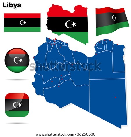 Libya vector set. Detailed country shape with region borders, flags and icons isolated on white background. Flag of National Transitional Council (2011). - stock vector
