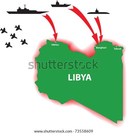 Libya war vector illustration - stock vector