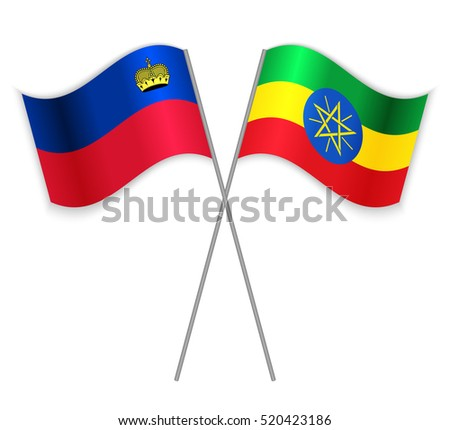 Liechtenstein and Ethiopian crossed flags. Liechtenstein combined with Ethiopia isolated on white. Language learning, international business or travel concept.