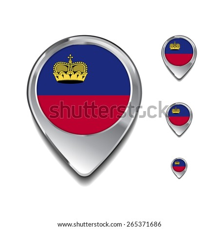 Liechtenstein flag map pointer. 3d Map Pointer with flag glossy button style on gray background - stock vector