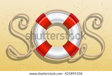 Life belt with rope sos inscription. Vector illustration - stock vector