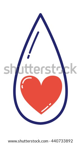 Life blood drop isolated on white. Nature shiny design water environment life drop. Isolated graphic, aqua rain blue droplet reflection concept life drop. Bright falling clean vibrant simple symbol. - stock vector