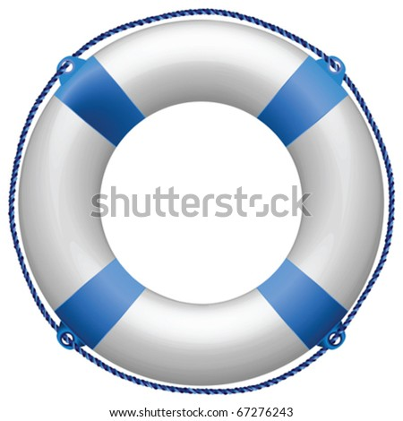 life buoy blue against white background, abstract vector art illustration - stock vector