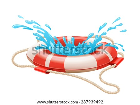 Life buoy for drowning rescue on water. Eps10 vector illustration. Isolated on white background - stock vector