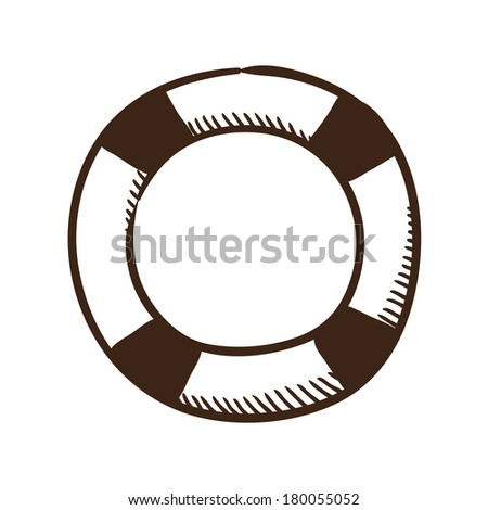 Life buoy help and safety symbol. Isolated sketch icon pictogram. Eps 10 vector illustration. - stock vector