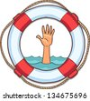 life buoy isolated on white with single hand of drowning people in sea and asking for help - stock photo