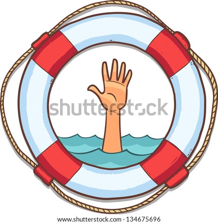 life buoy isolated on white with single hand of drowning people in sea and asking for help - stock vector