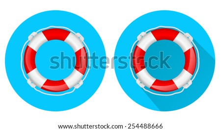 Life buoy web icon on blue background - vector drawing