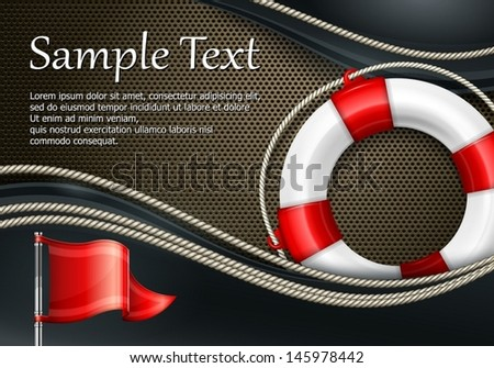 Life buoy with rope & flag on mash background, vector illustration - stock vector
