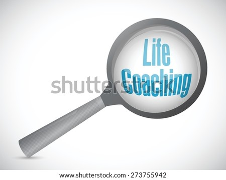 life coaching magnify glass sign icon concept illustration design over white - stock vector