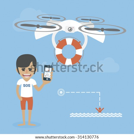 Life guard is flying a drone with the lifebuoy. Help concept - stock vector