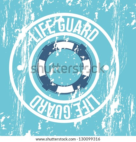life guard seal over blue background. vector illustration - stock vector