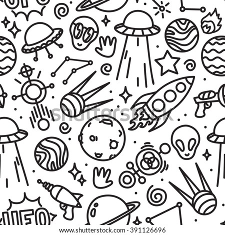 Life in space seamless vector pattern black and white