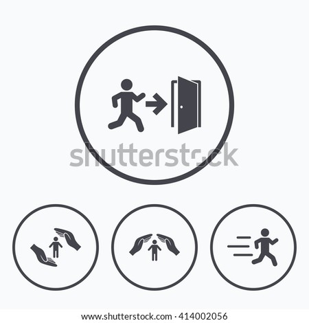 Life insurance hands protection icon. Human running symbol. Emergency exit with arrow sign. Icons in circles. - stock vector