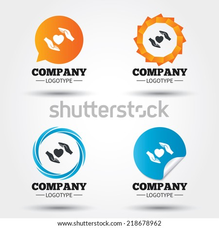Life insurance sign icon. Hands protect cover heart symbol. Health insurance. Business abstract circle logos. Icon in speech bubble, wreath. Vector - stock vector