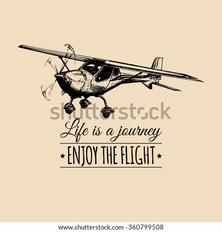 Life Journey Enjoy Flight Vintage Airplane Stock Vector HD Royalty