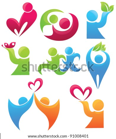 life, love ad leaves, vector collection of people symbols - stock vector