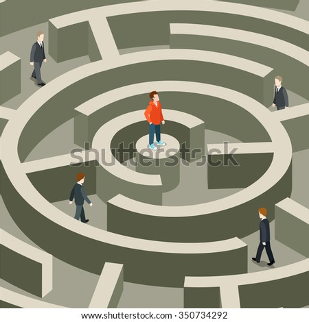Life professional business trap flat 3d isometric job seeking head hunting concept web vector illustration. Young man on maze center top pedestal. Creative people collection. - stock vector