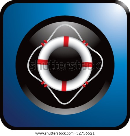 life ring on blue web button - stock vector
