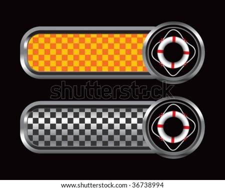 life ring on checkered tabs - stock vector