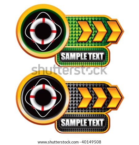 life ring on gold arrow nameplate banners - stock vector