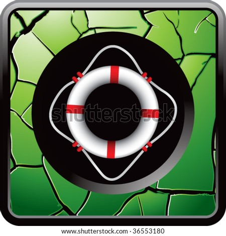 life ring on green cracked web icon - stock vector