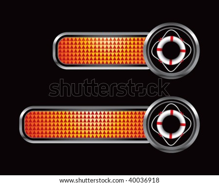 life ring on orange checkered banners - stock vector