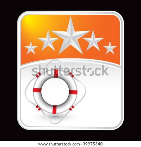 life ring on orange star banner - stock vector